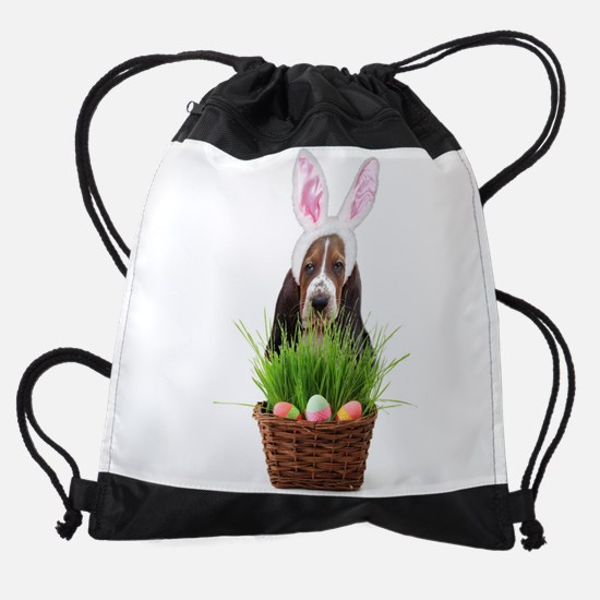 Easter Basset Hound Drawstring Bag