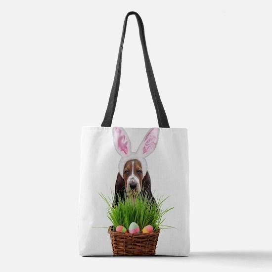 Easter Basset Hound Polyester Tote Bag