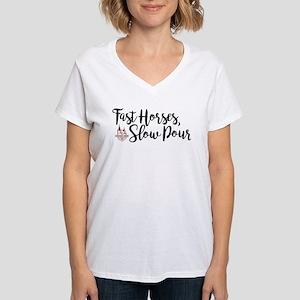 KY Derby 144 Fast Horses Women's V-Neck T-Shirt