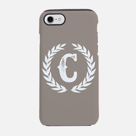 Beige Monogram: Letter C iPhone 8/7 Tough Case