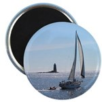 "Sailboat off Whaleback Light 2.25"" Magnet (100 pac"