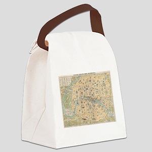 Vintage Map of Paris France (1890 Canvas Lunch Bag