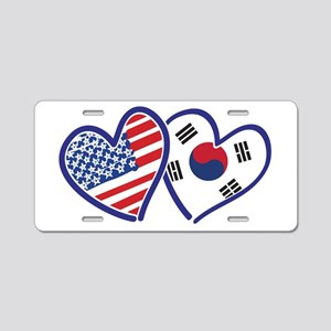 USA South Korea Love Hearts Aluminum License Plate
