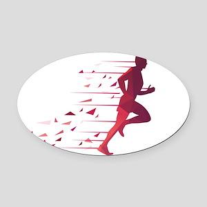 Running man Oval Car Magnet
