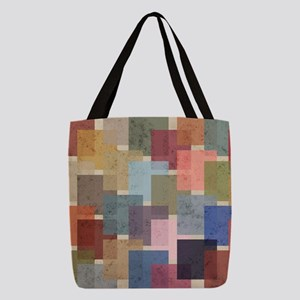 Mid Century Modern Squares Polyester Tote Bag