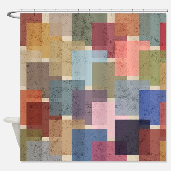 Mid Century Modern Squares Shower Curtain