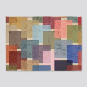 Mid Century Modern Squares 5'x7'Area Rug