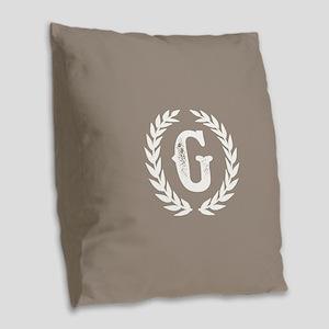 Beige Monogram: Letter G Burlap Throw Pillow