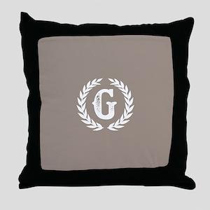 Beige Monogram: Letter G Throw Pillow