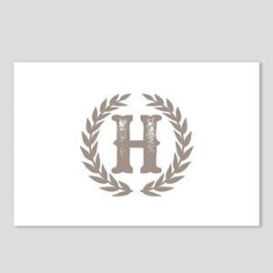 Beige Monogram: Letter H Postcards (Package of 8)