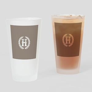 Beige Monogram: Letter H Drinking Glass