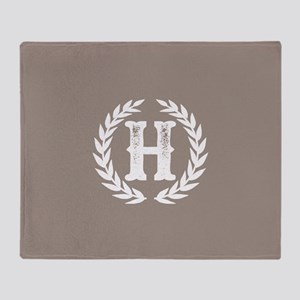 Beige Monogram: Letter H Throw Blanket