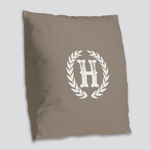 Beige Monogram: Letter H Burlap Throw Pillow