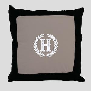 Beige Monogram: Letter H Throw Pillow