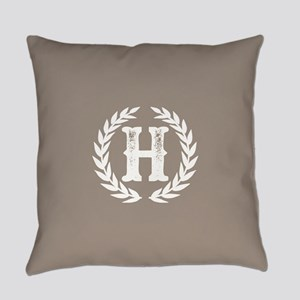 Beige Monogram: Letter H Everyday Pillow