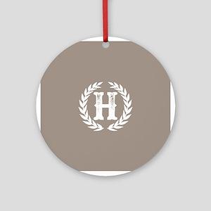 Beige Monogram: Letter H Round Ornament