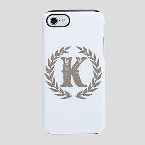 Beige Monogram: Letter K iPhone 8/7 Tough Case