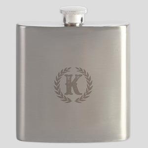 Beige Monogram: Letter K Flask