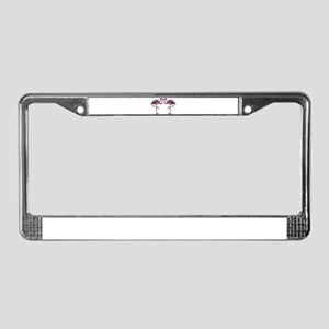 Hot Pink Flamingos License Plate Frame