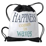Happiness Comes in Waves Drawstring Bag