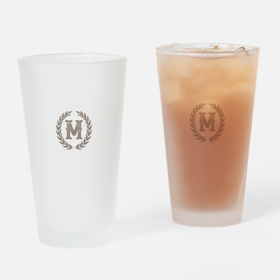 Beige Monogram: Letter M Drinking Glass