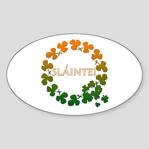 Slainte Irish Toast Oval Sticker