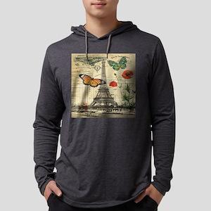 vintage butterfly paris eiffe Long Sleeve T-Shirt