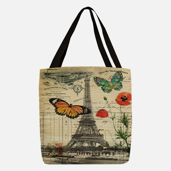 butterfly paris eiffel tower Polyester Tote Bag