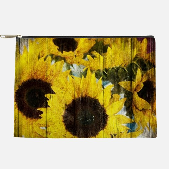 western country yellow sunflower Makeup Bag
