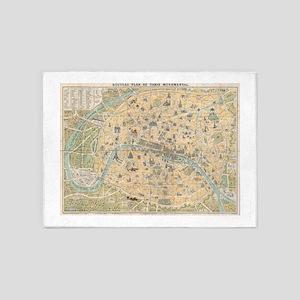 Vintage Map of Paris France (1890) 5'x7'Area Rug