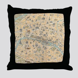 Vintage Map of Paris France (1890) Throw Pillow