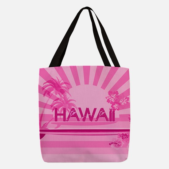 pink hawaii Polyester Tote Bag