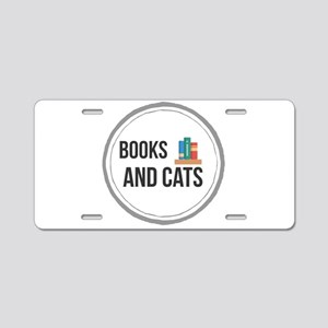 Books and Cats Aluminum License Plate