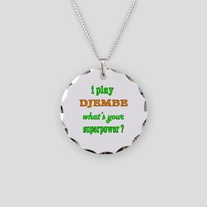 I Play Djembe Necklace Circle Charm