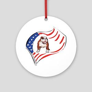 American Flag Bulldog Ornament (Round)