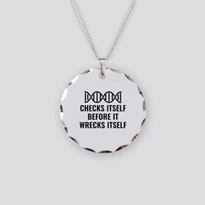 DNA Checks Itself Necklace Circle Charm