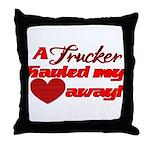 Trucker Hauled My Heart Away Throw Pillow