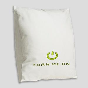 Turn Me On Yellow  Burlap Throw Pillow