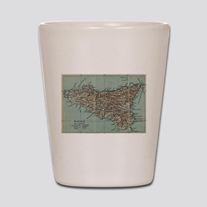 Vintage Map of Sicily Italy (1911) Shot Glass