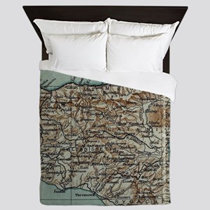 Vintage Map of Sicily Italy (1911) Queen Duvet