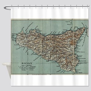 Vintage Map of Sicily Italy (1911) Shower Curtain