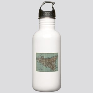 Vintage Map of Sicily Stainless Water Bottle 1.0L