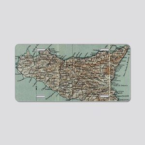Vintage Map of Sicily Italy Aluminum License Plate
