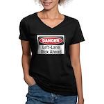 Danger Women's V-Neck Dark T-Shirt