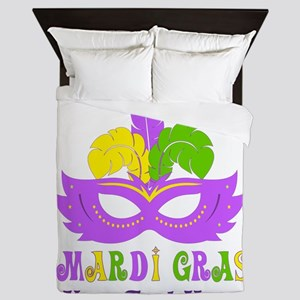 Mardi Gras Mask Personalized Queen Duvet