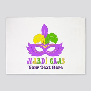 Mardi Gras Mask Personalized 5'x7'Area Rug