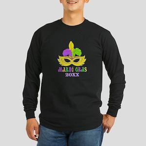 Mardi Gras Year Long Sleeve Dark T-Shirt