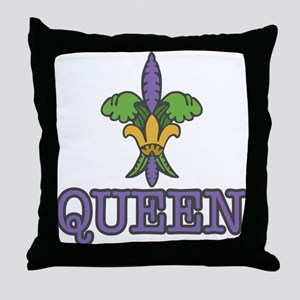 Queen Mardi Gras Throw Pillow
