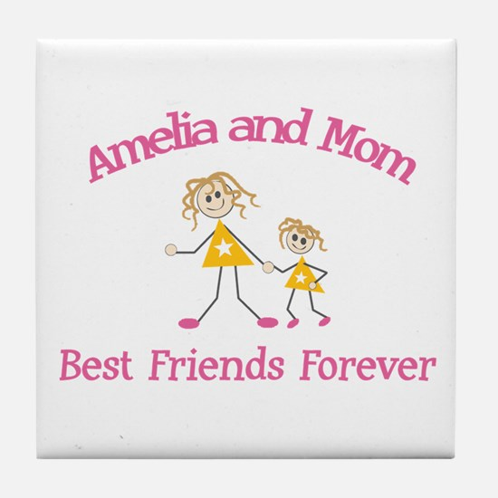 Amelia & Mom - Best Friends F Tile Coaster