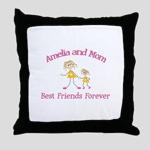Amelia & Mom - Best Friends F Throw Pillow